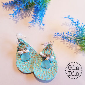 Turquoise and gold, faux leather earrings
